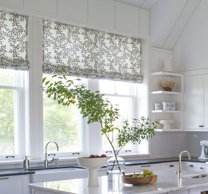 Smokebush Latte Roman Shades Kitchen - Galbraith & Paul